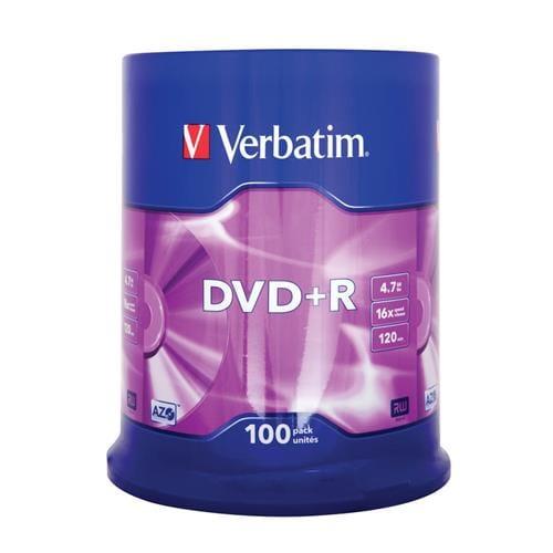 Média DVD+R Verbatim 4,7 GB, 16x, 100-cake 43551