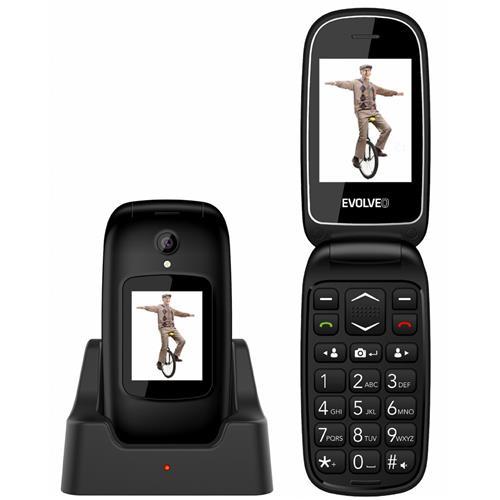 EVOLVEO EasyPhone FD, vyklápací mobilný telefón pre seniorov, čierny EP-700-FDB