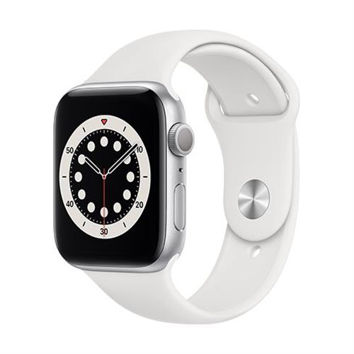 Apple Watch Series 6 GPS, 44mm Silver Aluminium Case with White Sport Band - Regular M00D3VR/A