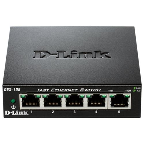 D-Link DES-105 kovový 5-port 10/100 Desktop Switch DES-105/E