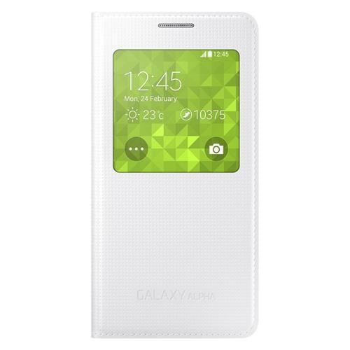 Samsung flipové puzdro S-view EF-CG850B pre Samsung Galaxy Alpha (SM-G850), biele EF-CG850BWEGWW