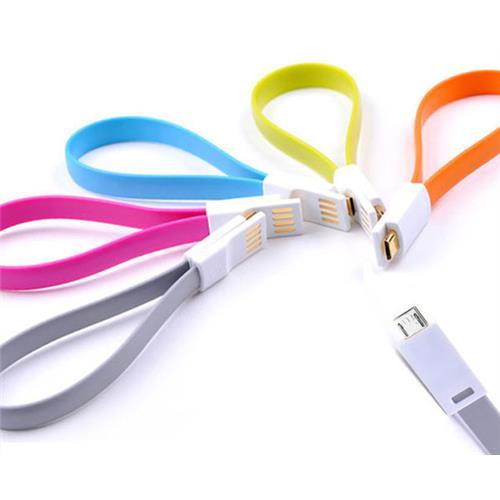 Mini Magnetický USB nabíjací kábel biely 225mm BELLAPROX s microUSB konektorom BP-CAB-micro-MAG225W
