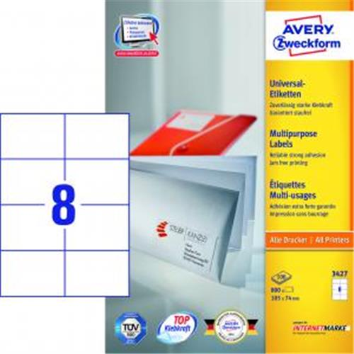 Etikety univerzálne 105x74mm Avery A4 100 hárkov AV003427