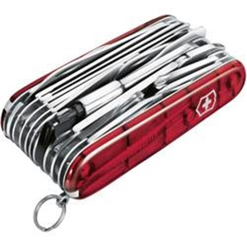 Švajčiarsky vreckový nožík Victorinox Swiss Champ XLT 1.6795.XLT, červená (transparentný) 418545