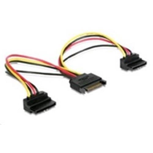 Kábel SATA napájací na 2x SATA 90°, rozdvojka,15cm CC-SATAM2F-02