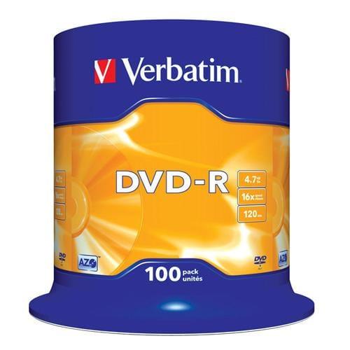 Média DVD-R Verbatim 4,7 GB, 16x, 100-cake 43549