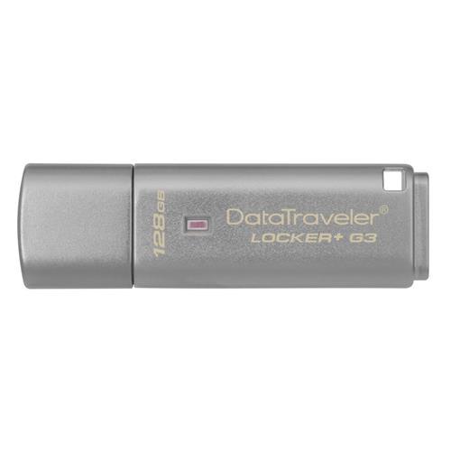 USB Kľúč 128GB Kingston DataTraveler Locker sivý + G3 w/Automatic Data Security, USB 3.0 ( r135MB/s, w40MB/s ) DTLPG3/128GB
