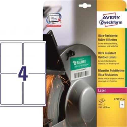 Etikety Avery 99,1x139 mm, ultra odolné biele AV791510