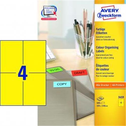 Etikety farebné 105x148mm Avery A4 100 hárkov žlté AV003459