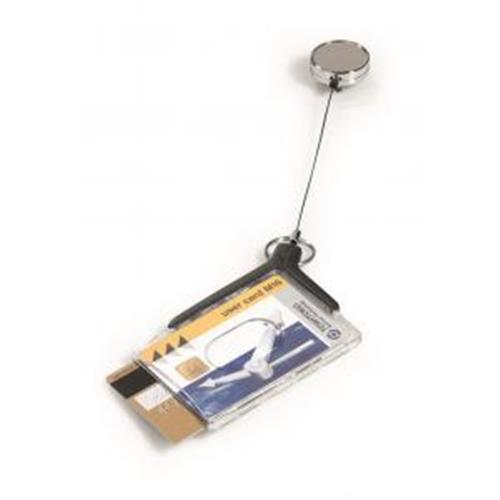 Visačka na 2 plastové karty s kotúčom DURABLE DE LUXE DUO PRO 85x54mm 10ks DU830858