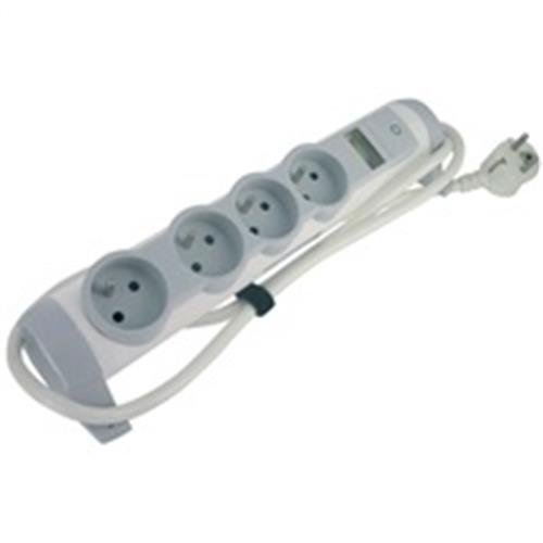 Legrand - predlžovačka s vypínačom a indikátorom aktuálnej spotreby, 4 zásuvky, kábel 1.5m, možnosť meniť orient. zásuv 50091