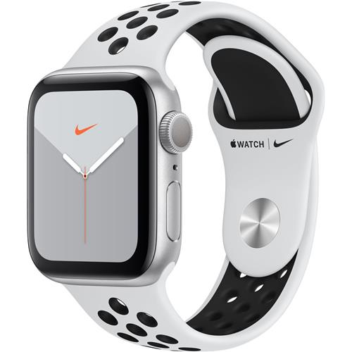 Apple Watch Nike Series 5 GPS, 44mm Silver Aluminium Case with Pure Platinum/Black Nike Sport Band - S/M & M/L MX3V2VR/A