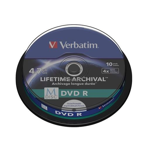 Média DVD R Verbatim M-Disc (10-pack) Spindle/4x/4.7GB 43824