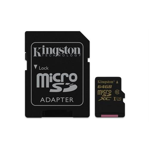Kingston 64GB microSDHC/SDXC Class U3 UHS-I ( r90MB/s, w45MB/s ) + SD adaptér SDCG/64GB
