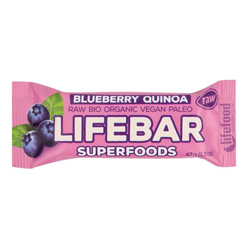 Tyčinka Lifebar čučoriedková s quinoa 47 g BIO LIFEFOOD 630213