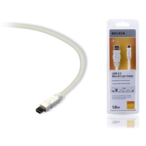 Kábel BELKIN USB 2.0 A-MiniB 5pin biely, 1.8 m F3U155cp1.8MWHT