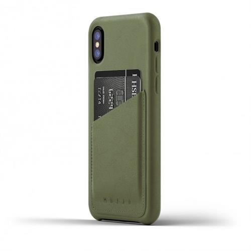 MUJJO Full Leather Wallet Case pre iPhone X - olivový MUJJO-CS-092-OL