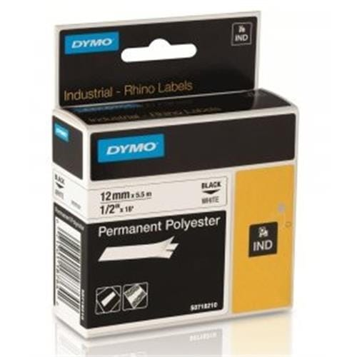 Páska DYMO 18764 (18483) PROFI D1 RHINO Black On White Permanent Polyester Tape (12mm) S0718210