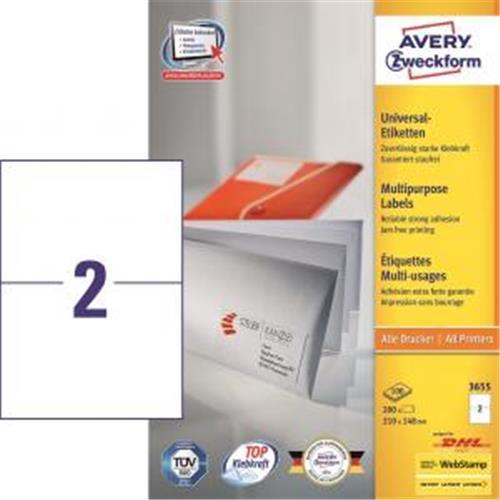 Etikety univerzálne 210x148mm Avery A4 100 hárkov AV003655