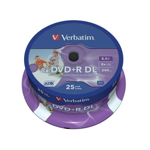 Média DVD+R Verbatim 8,5 GB DL, 8x, Printable, 25ks 43667