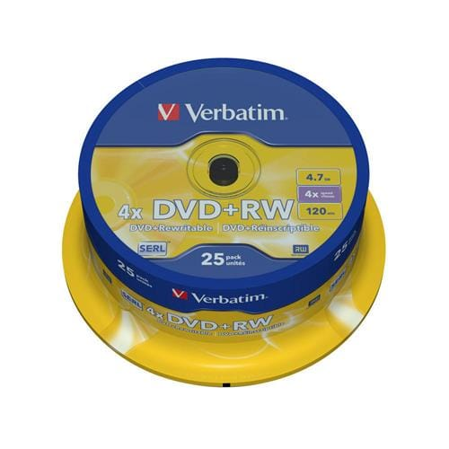 Média DVD+RW Verbatim cakebox 25, 4.7GB, 4x 43489