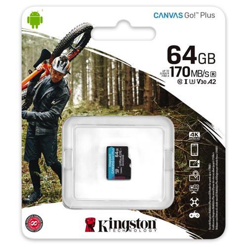 64GB microSDXC Kingston Canvas Go! Plus A2 U3 V30 170MB/s bez adaptéra SDCG3/64GBSP