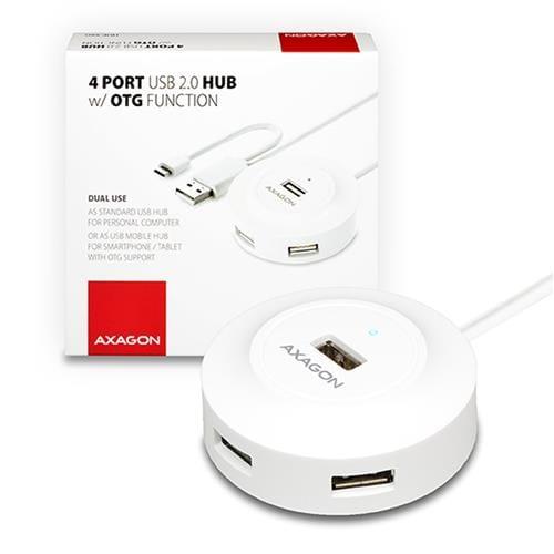 AXAGON 4x USB2.0 cable hub + micro USB OTG WHITE HUE-X6G
