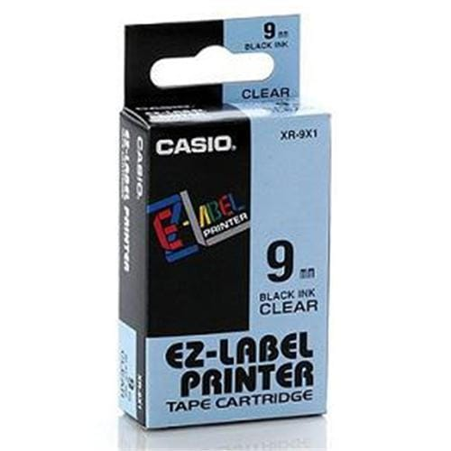Páska CASIO XR-9X Black On Clear Tape EZ Label Printer (9mm)