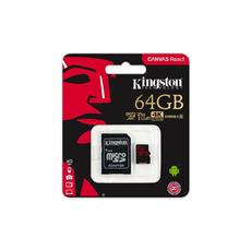 Kingston 64GB mSDXC Canvas React (100R, 80W, CL10 UHS-I V30 + SD adaptér)