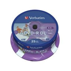 Média DVD+R Verbatim 8,5 GB DL, 8x, Printable, 25ks