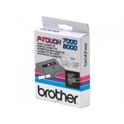 Páska BROTHER TX315 White On Black Tape (6mm)