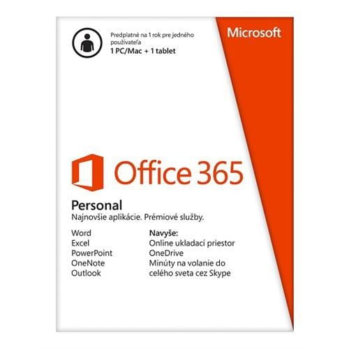 Office 365 Personal 32-bit/x64 Slovak Subscr 1YR Eurozone Medialess