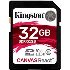 32GB SDHC Kingston Canvas React U3 V30 A1 100R/70W