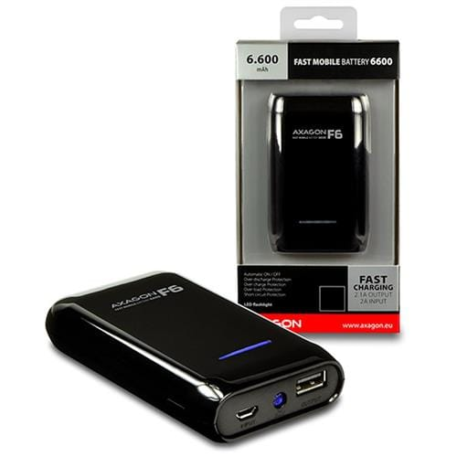Powerbank AXAGON FAST 6600mAh, 2A IN/OUT, BLACK