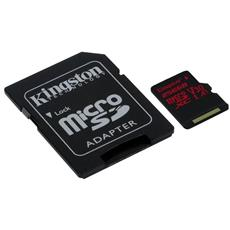 256GB microSDXC Kingston Canvas React U3 100R/70W V30 A1 + SD adaptér