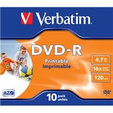 Média DVD-R Verbatim 4.7GB, 16x, Printable, Jewel case, 10ks