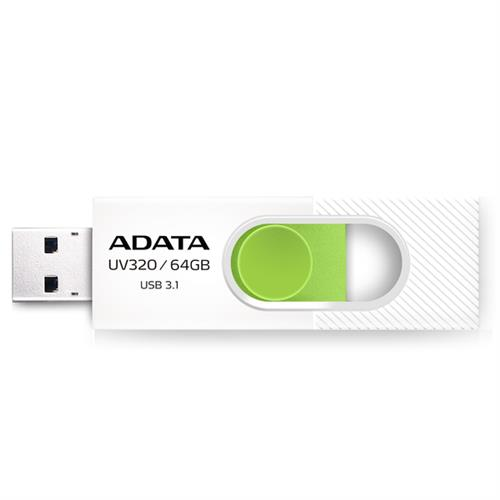 USB Kľúč 64GB ADATA UV320 white/green (USB 3.1)
