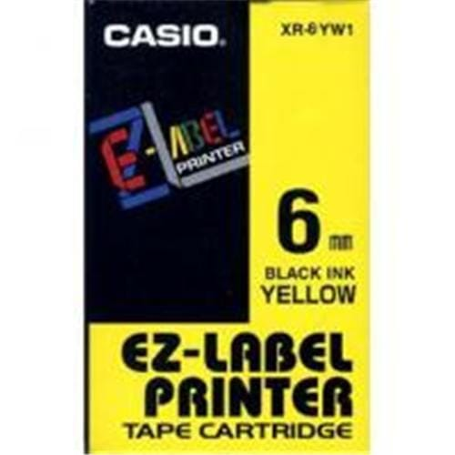 Páska CASIO XR-6YW1 Black On Yellow Tape EZ Label Printer (6mm)