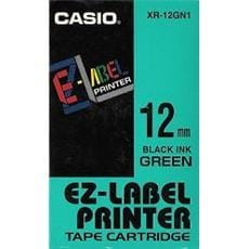 Páska CASIO XR-12GN1 Black On Green Tape EZ Label Printer (12mm)