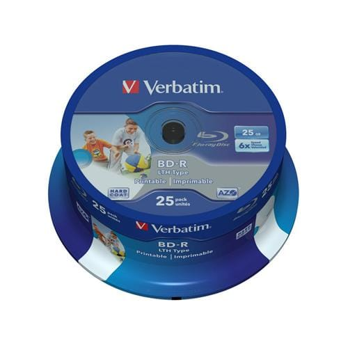 Média Blu-ray BD-R LTH Verbatim spindle 25, 25GB, 6x, WIDE PRINTABLE NO ID