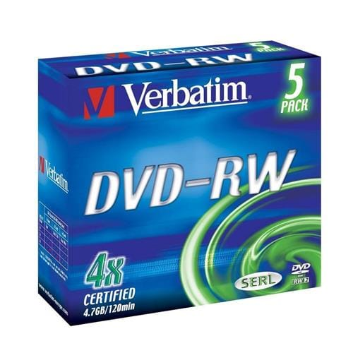 Média DVD-RW Verbatim jewel case 5, 4.7GB, 4x