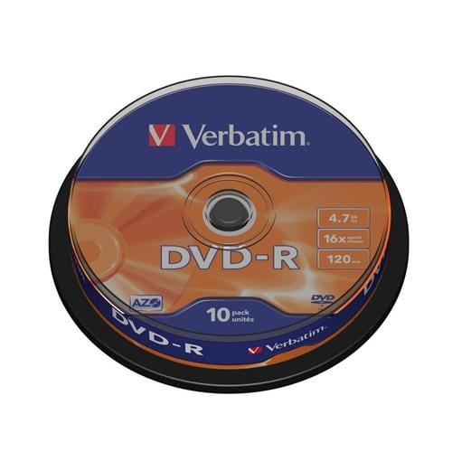 Média DVD-R Verbatim 4.7GB, 16x, CakeBox, 10 kusov