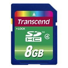 Transcend 8GB SDHC (Class 4) SD 2.0, memory card